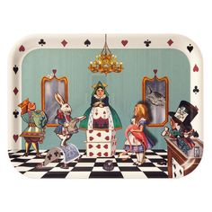 Add a touch of the fantastical to your dinner settings with this Alice in Wonderland tray by Louise Kirk for Avenida Home. Featuring a classic Alice in Wonderland Court of Hearts inspired scene, it ha
