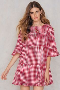 3 4 Sleeve Mini Dress Red