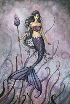 Amethyst Sea Mermaid Fantasy Fine Art Giclee Print 11 x 17. $30.00, via Etsy.
