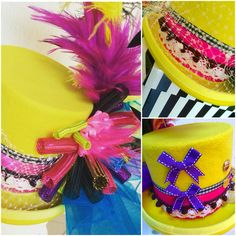 Multicolour woolfelt yellow tophat circus style. With lace, ribbon, feathers and mini bows on the back. It's like candy!