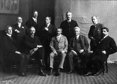 The Ten in 1908. Standing left to right -William Merritt Chase, Frank Benson, Edmund Tarbell, Thomas Dewing, Joseph De Camp. Seated left to right - Edward Simmons, Willard Metcalf, Childe Hassam, Alden Weir, Robert Reid.