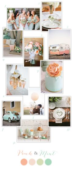 Peach and Mint Wedding Inspiration via One Hitched Lane @ Wedding-Day-Bliss Wedding Pics, Wedding Themes, Wedding Bells, Wedding Designs, Wedding Colors, Our Wedding, Wedding Flowers, Dream Wedding, Wedding Decorations