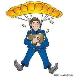 golden parachute = 買収される会社の経営者が巨額の退職金を受け取り経営権を引き渡すこと.