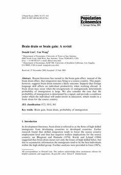 Brain drain or brain gain: A revisit - Springer