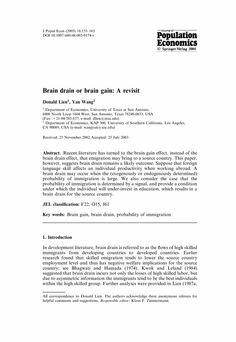 Brain drain or brain gain: A revisit - Springer