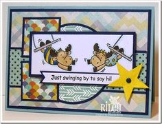 Just Swinging By created by Frances Byrne using stamps from Riley and Company