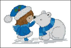 girl and polar bear cross stitch
