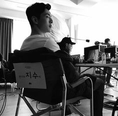 Acting is difficult business. I'm glad he has an official chair with his name on it xD just for him Asian Actors, Korean Actors, Ji Soo Actor, Jinyoung, Jun Matsumoto, Hong Ki, Ryu Jun Yeol, Tae Oh, High School Drama