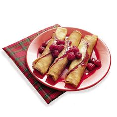 Crepes: As a special treat, surprise your sleepy family with these fancy-looking (yet simple-to-make) breakfast crepes. Served with fresh fruit and powdered sugar, or butter and syrup, these thin rolled pancakes make a light and delicious breakfast