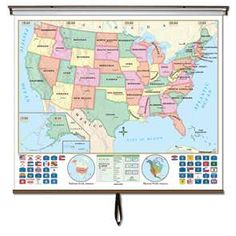Beginner classroom wall maps are ideal for PRE-K through 1st. grade. Features bright colors with easy-to-identify land masses and major bodies of water. The U.S. map shows state names and capitals  #Globes #Education #geography #teaching #classroommaps #classroomglobes