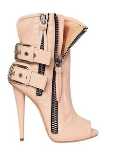LOVE the boots HATE the peep- toe! Giuseppe Zanotti leather biker open toe boots from winter collection. Heeled Boots, Bootie Boots, Shoe Boots, Shoes Heels, Ankle Boots, Biker Boots, High Heels Sandals, Boot Heels, Shoes Sneakers