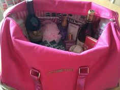 "Now this is a fun basket! Mom's Weekend Getaway Bag - include a gift certificate to a local hotel with spa package! Brilliant! ""Raffle basket used with Victoria secret bag"""