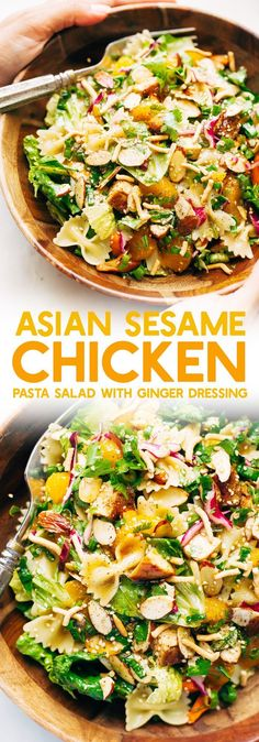 Sesame Chicken Pasta Salad with Ginger Dressing - Homemade ginger dressing drizzled all over a crunchy, filling salad! Its so good you'll want it for lunch and dinner every night this week! #salad #sesamechickensalad #asianchickensalad #chickenpastasalad | Littlespicejar.com