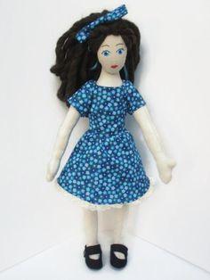 Doll  Blue Floral Dress  Brown Hair  Blue Eyes by EvangelinaMarie, $65.00