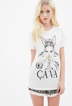 French Girl Graphic Tee | FOREVER21 - @bcollins1108 i wonder if they even know what ca va means bc that pic doesnt go with it lol