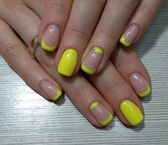 Maybe will a nice cool tan or something nude or black or white. Beautiful nails, Bright yellow nails, Easy nail designs, Juicy summer nails, Spring nail ideas, Square french nails, Square nails, Summer nails ideas