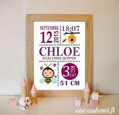 Cadeau naissance, stats de naissance, décoration chambre bébé fille - Fichier Imprimable - n°47 abeille : Chambre d'enfant, de bébé par cashemir