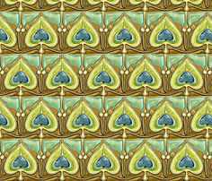 Art Nouveau53-brown/green fabric by guylas_coastal_creations on Spoonflower - custom fabric