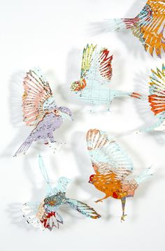 Hey! We're here, claire brewster, map, paper, art, contemporary art, commission, birds, vintage, sculpture, paper cut, nature, wildlife art
