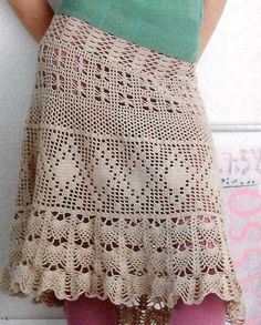 Beige Crochet Skirt free crochet graph pattern, several beautiful patterns, I love the brown one at the bottom of the page!