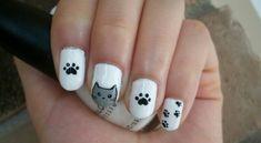 Cat Nail Art Design by Itsbejarano on DeviantArt Nail Art Designs, New Nail Art Design, Pedicure Designs, Nails Design, Cat Design, Cat Nail Art, Animal Nail Art, Cat Eye Nails, Nail Art Hacks