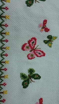 Butterfly Cross Stitch, Cross Stitch Borders, Cross Stitch Flowers, Cross Stitch Charts, Cross Stitch Designs, Cross Stitching, Cross Stitch Patterns, Basic Embroidery Stitches, Hand Embroidery Stitches