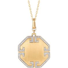 Ivanka Trump Metropolis 18k Solid Octagonal Pendant with Deco Diamonds (€2.795) ❤ liked on Polyvore featuring jewelry, necklaces, 18k pendant, diamond jewelry, ivanka trump, art deco jewelry and diamond jewellery