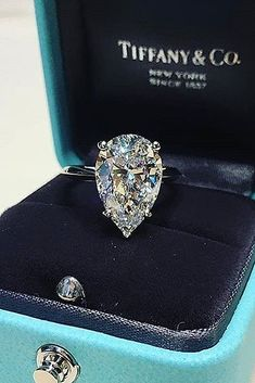 15 Most Loved Tiffany Engagement Rings ❤️ tiffany engagement rings pear cut solitaire diamond white gold ❤️ See more: http://www.weddingforward.com/tiffany-engagement-rings/ #weddingforward #wedding #bride