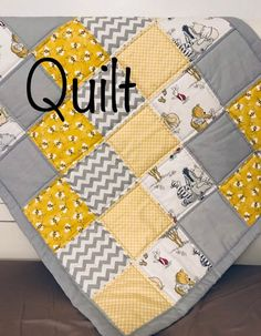 Winnie the Pooh Baby Bedding Baby Blanket Gender Neutral Baby Blanket Hunny Pot Bumble Bee Blanket Yellow and Gray Baby Shower Gift Quilted Baby Blanket, Patchwork Baby, Baby Girl Quilts, Quilt Baby, Baby Bedding, Neutral Baby Blankets, Neutral Baby Quilt, Gender Neutral Baby, Winnie The Pooh Blanket