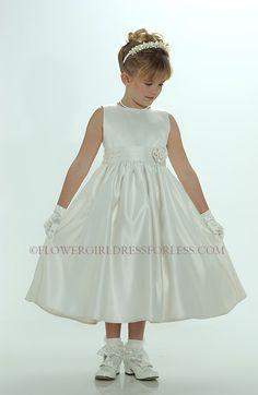 Flower Girl Dress Style 5036- Ivory Sleeveless All Satin Dress With Cummerbund Style Sash $34.95