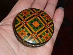 An Antique Victorian Tartan Ware Mauchline Ware Pin Cushion-Rare Design-c1880.