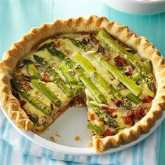 Asparagus Swiss Quiche Recipe -Fresh asparagus stars along with bacon, onion and Swiss cheese in this hearty quiche. Field editor Mary Ann Taylor of Rockwell, Iowa sent the recipe.