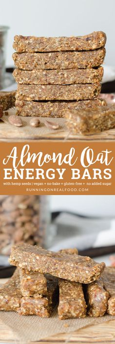 No-Bake Oatmeal Bars These no-bake almond oat bars call for just 6 ingredients such as hemp seeds and peanut butter. 8 grams of plant-based protein per bar. Gluten-free, vegan, no added sugar. via Running on Real Food Vegan Protein Bars, Healthy Protein Snacks, Vegan Bar, Protein Bar Recipes, Raw Food Recipes, High Protein, Healthy Sweets, Healthy Oat Bars, Sugar Free Protein Bars