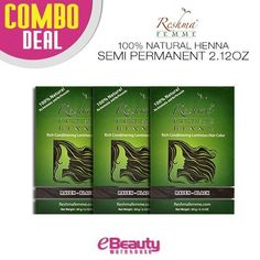 3 Pcs Combo Deal Reshma Henna Semi Permanent Hair Color 2.12oz (Raven-Black) *** Learn more by visiting the image link. #hairproduct