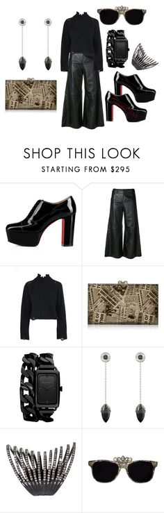 """""""IM NEWS"""" by myownflow ❤ liked on Polyvore featuring Christian Louboutin, Golden Goose, Charlotte Olympia, Karl Lagerfeld, Château Euphorie and Plukka"""