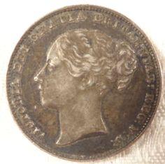 1861 RARE Short Curl GREAT BRITAIN VICTORIA Shilling Coin Extra Fine