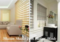 A new kind of roller shade, Illusions, creates a bold statement with overlapping panels. Persiana Double Vision, Unique Window Treatments, Zebra Blinds, Budget Blinds, Solar Shades, Roller Blinds, Wow Products, Illusions, Windows