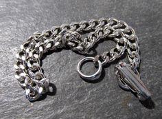 Ladies SILVER Tone Bracelet VINTAGE Cuban Curb Link Charm Bracelet Ladies 4mm x 7mm Links Ready to Wear Vintage Jewelry Charm Bracelet (G105 by punksrus on Etsy