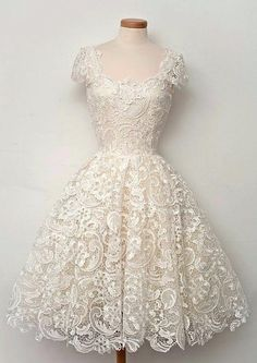 Ivory Lace Prom Dress, Knee Length Lace Homecoming Dress