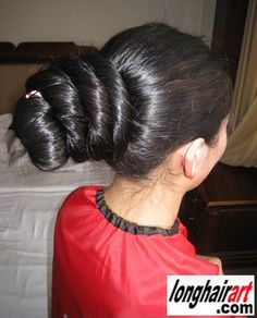 how to make a bun with long thick hair