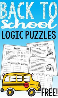 FREE Back to School Math Logic Puzzles: Start your school year testing out your students logic skills with these fun matrix puzzles. Use as a back to school activity for early finishers, a cooperative learning activity, or a math center.