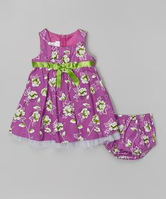 Look at this Gerson & Gerson Purple Floral Babydoll Dress & Diaper Cover - Infant on #zulily today!
