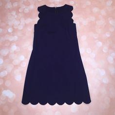 J. CREW Scalloped Navy Dress Size 0 J. CREW Scalloped Navy dress. Size 0. Extremely popular J. Crew dress! Cute scallop detail. Flattering fit! Gently worn. J. Crew Dresses Mini