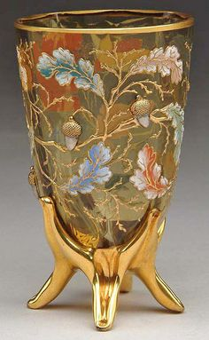 Moser Vase circa 1893, Czechoslovakia. Enameled oak leaves and gold gilt branches with applied acorns.
