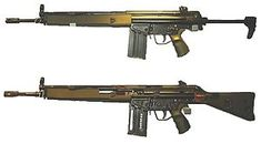 The Heckler & Koch G3A4 (top) and G3A3 cutaway (bottom)