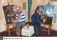 Picasso y Dalí pintan un huevo :)