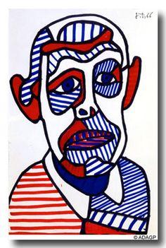 GROUPE SCOLAIRE ALAIN CAVALLIER commune d'Elancourt - Autoportrait à la manière de Jean Dubuffet