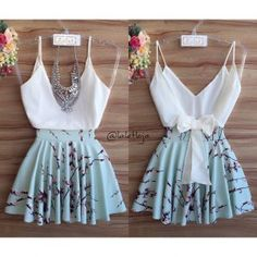 image Crop Top Outfits, Skirt Outfits, Summer Outfits, Classy Outfits, Cute Outfits, Cute Dresses, Short Dresses, Girl Fashion, Fashion Outfits