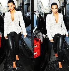 kim kardashian leather pants & lace jacket