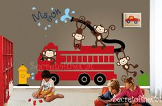 Decals Nursery - Firetruck Wall Decal - Monkeys Decals - Baby Monkeys Decals- Kids Wall Decal Wall Sticker  Playroom Decals @Etsy